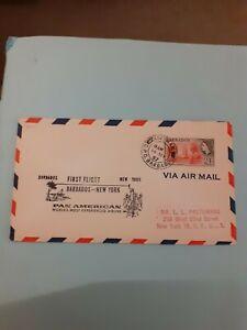 COVER PAN AM 1ST FLIGHT BARBADOS NEW YORK 1957