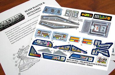 Beam blaster /& Artilleray MOTU Masters OT Universe replacement stickers//decals