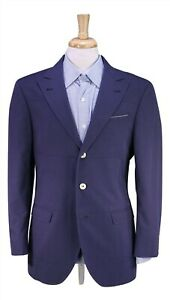 BRUNELLO-CUCINELLI-Purplish-Blue-Peak-Lapel-Cotton-2-Btn-Blazer-Jacket-40R