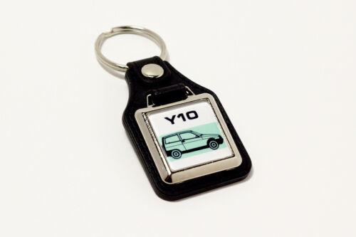 Lancia Y10 Keyring Leatherette Retro Italian Autobianchi Classic Car Keyfob