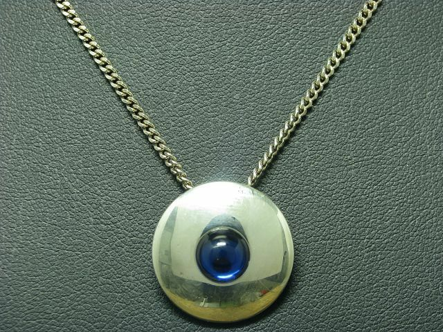 925 STERLING silver KETTE & ANHÄNGER MIT blueEM GLAS BESATZ   13,6g   50 cm