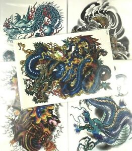 5-Pack-Set-of-Mixed-Colored-Chinese-Dragon-8X6-Inch-Temporary-Tattoo-Stickers