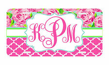 Personalized Monogrammed License Plate Auto Car Tag Floral Pink Roses
