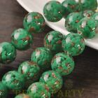 New 5pcs 14mm Lampwork Glass Dots Loose Spacer Round Beads Charms Green