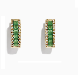 Details about  /3.00 Ct Princes Cut Emerald /& Diamond Hoop Earrings 14K Yellow Gold Over