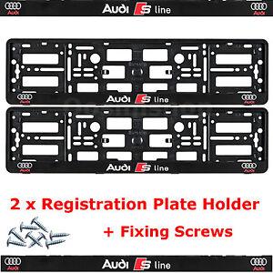 2 X New Edition License Number Plate Holder Surround Pour Nouvelle Audi S-line Voiture + F-afficher Le Titre D'origine