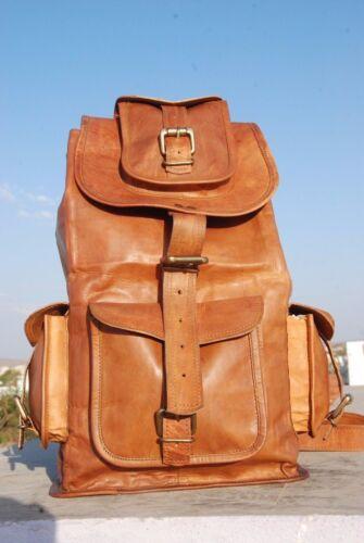 Large Vintage Style Real Genuine Leather Bag Rucksack Backpack Dark Brown bag