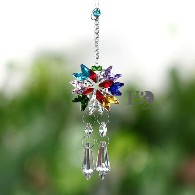 Crystal Suncatcher Butterfly Pendant Fengshui Pendulum Hanging Prisms Window