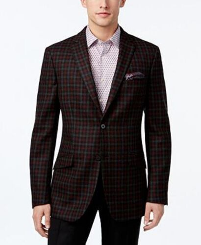 Tallia Mens Slim-Fit Sport Coat Jacket Charcoal Red Check 40R New 622363769778