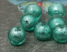 4xhandmade Glasperlen Silberfolie 10mm mint mu533