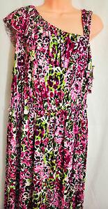 women-039-s-Madison-summer-print-dress-size-XL-one-shoulder-sleeveless-floral-rayon