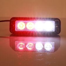4 LED 4W 12V Emergency Flash Light White/Red Strobe Warning Grille Hazard Lamp