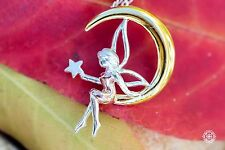 Fairy on the Moon Pendant Necklace 18K GP over 925 Sterling Silver