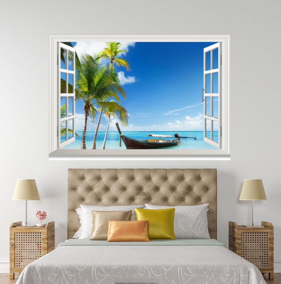 3D Boat Grün Palm Sky 008 Open Windows WallPaper Murals Wall Print AJ Jenny