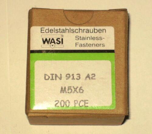 6 DIN 913 ** Edelstahl ** A2  Madenschraube  25 Stk Gewindestift M 5