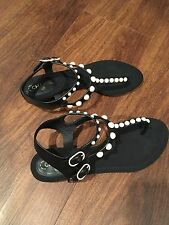 WORN ONCE!! 2016 CHANEL Pearl Black Thong Sandals 36 $875