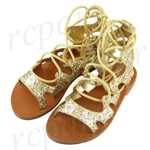 New girl/'s kids sandals gold glitter comfort casual open toe summer lace up
