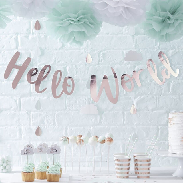HELLO WORLD BABY SHOWER DECORATIONS - Tableware Party Packs Range Gender Neutral