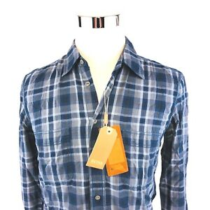 a01a9665 Hugo BOSS Orange Label Dobby Navy Plaid Button Front Sport Shirt ...