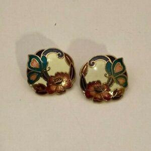1 pair Vintage 1980/'s Cloisonne Enamel Butterfly Gold Tone Dangle Earrings