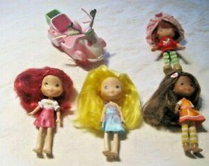 Strawberry-Shortcake-Lot-4-Dressed-6-034-Dolls-amp-Scooter