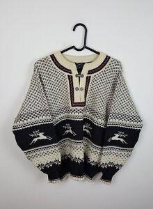Norwegian Mens Chunky Aztec con Clasp oversize M Knit Felpa cappuccio Retro Vtg Tr7q6nwarX