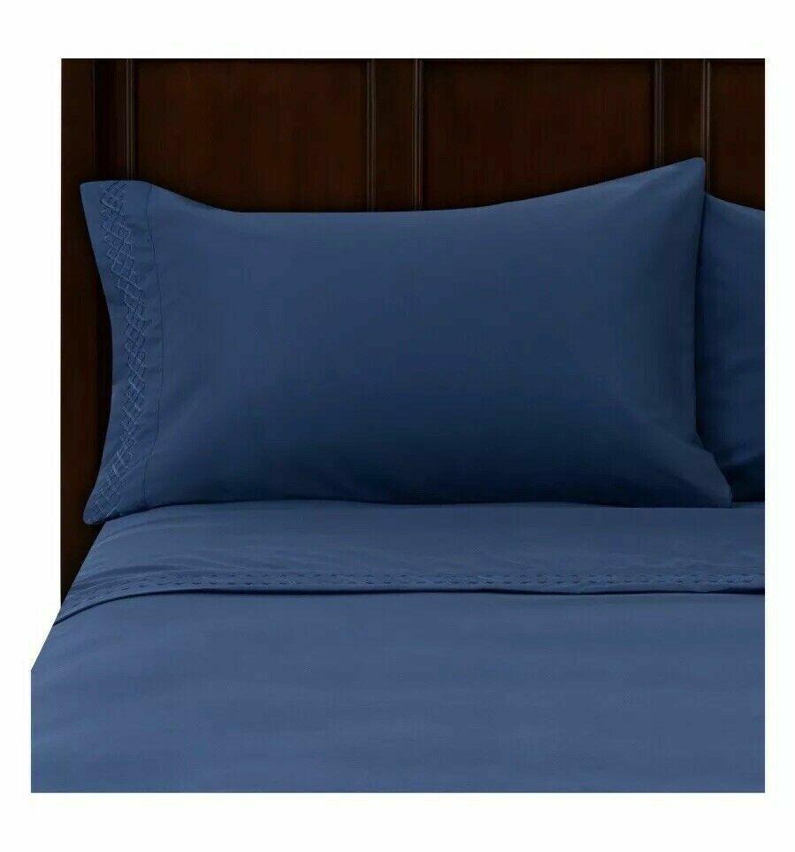 Better Homes Dark Iris Navy bluee Embroidered Sheet set Twin, Full, Queen, King