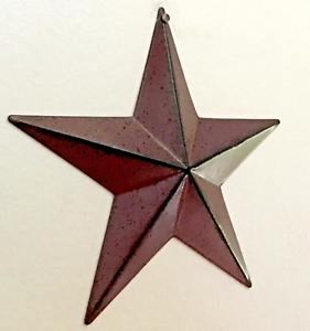 Primitive-Country-Home-Decor-Tin-Barn-Star-Burgundy-3-5-034-5-5-034-12-034-wall