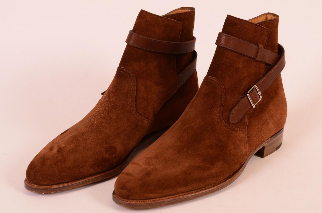 Hombres hechos a mano marrón de gamuza cuero Jodhpur botas suela de cuero zapatos
