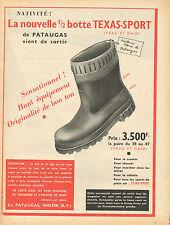 Publicité 1960 chaussure  ///   La nouvelle 1/2 botte TEXAS SPORT  Ets PATAUGAS
