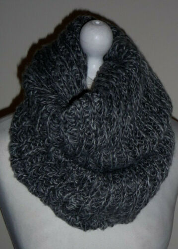 Grey Wool Knitted Infinity Scarf Double Layer Cowl Snood Loop Neck Warmer