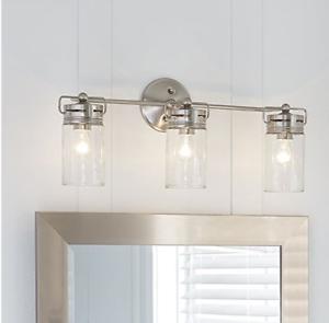 Details About Modern 3 Light Brushed Nickel Bathroom Vanity Gl Jar Fixture Allen Roth