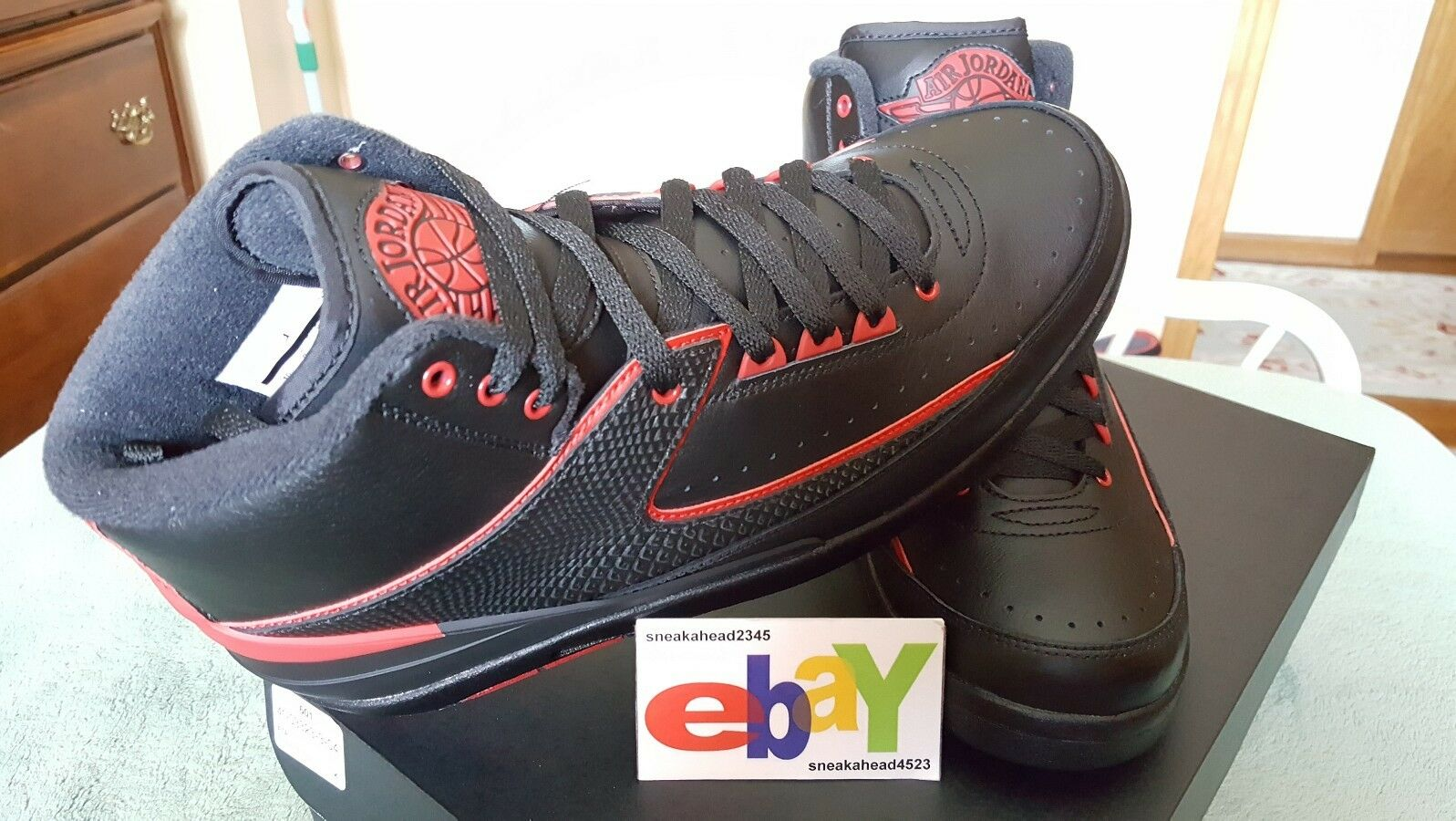 Air Jordan 2 Retro BRED 12/03/15 BLACK/VARSITY RED 834274 001 2018