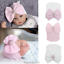 thumbnail 2 - Baby Newborn Soft Striped Hat With Bow Girl Infant Child Beanie Cap Diomand HOT