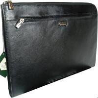 Visconti Bond - Black Leather Under Arm Folio, Portfolio File Case / Business Pa