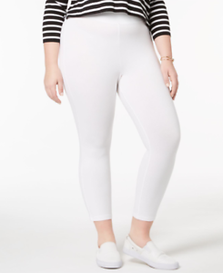 HUE-Wide-Waistband-Cotton-Capri-Leggings-White-Plus-size-2X