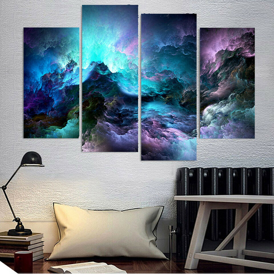 Abstract Painting Psychedelic Clouds 4 Panel Canvas Print Wall Art Poster