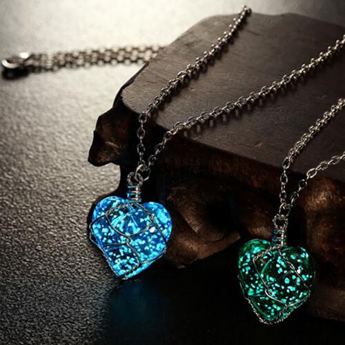Anhänger Amulett Magic nacht leuchtend katze Wolf Herz AUSVERKAUF Halskette
