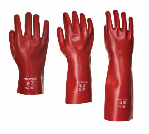 12 x Portwest PVC Gauntlet Safety Work Gloves Various Lengths 27 35 /& 45cm