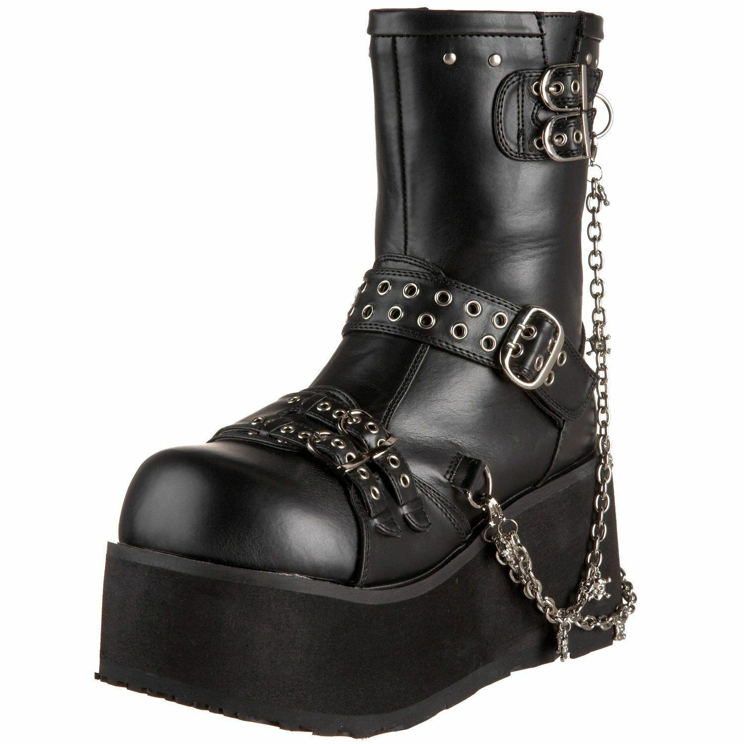 Demonia CLASH-430 Women's Goth Punk Platform Calf Boots