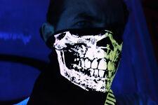 UNIQUE PEACH GLOW INTHE DARK SKULL BANDANA HALF FACE MASK RAVE BLACK LIGHT NECK