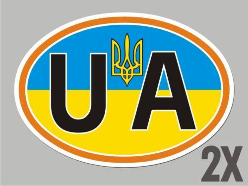2 Ukraine OVAL stickers Ukrainian Tryzub flag decal bumper car bike laptop CL066