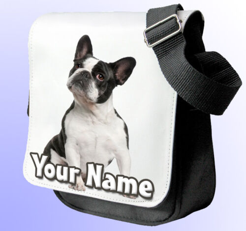 HAND BAG *Choice of 2 colours BLACK FRENCH BULLDOG PERSONALISED SHOULDER