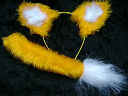 Bright Yellow Fox Ears And Tail Set Instant Fancy Dress Faux Fur Fox Handmade