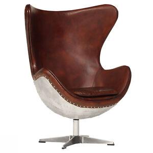 drehsessel ohrensessel aircraft vintage design sessel echt leder und aluminium ebay. Black Bedroom Furniture Sets. Home Design Ideas