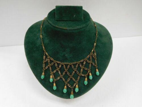 Antique Brass Jade Green Stone Quartz Drop Bib Nec