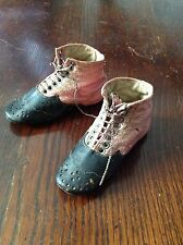 Antique Fine French  small 10cm rose & black Kid 1910 dolls laced shoes boots