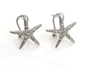 Vintage-Sterling-amp-Crystal-Petite-Starfish-Harp-Back-Post-Earrings