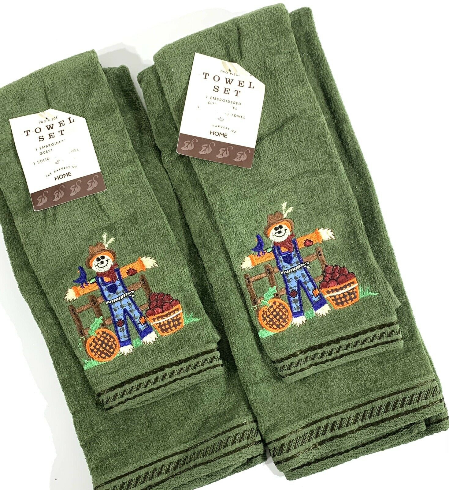 2 Sets (4) Green Harvest Fall Scarecrow Embroidered Guest Hand Towel Set Cotton