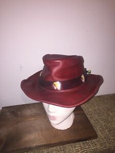 722928f9aedf38 Vintage Red leather western style hat with Indian Head band size ...